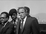 Marlon Brando and Black Panthers at Bobby Hutton's funeral, Oakland California, 1968.
