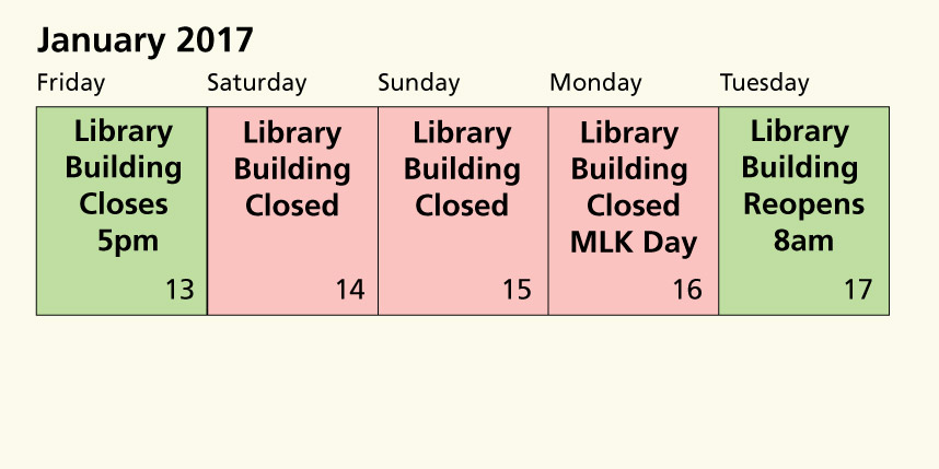 Martin Luther King Jr. holiday hours img