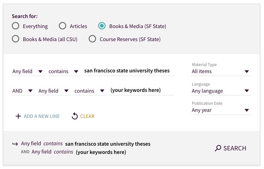 Screenshot for finding SF State theses